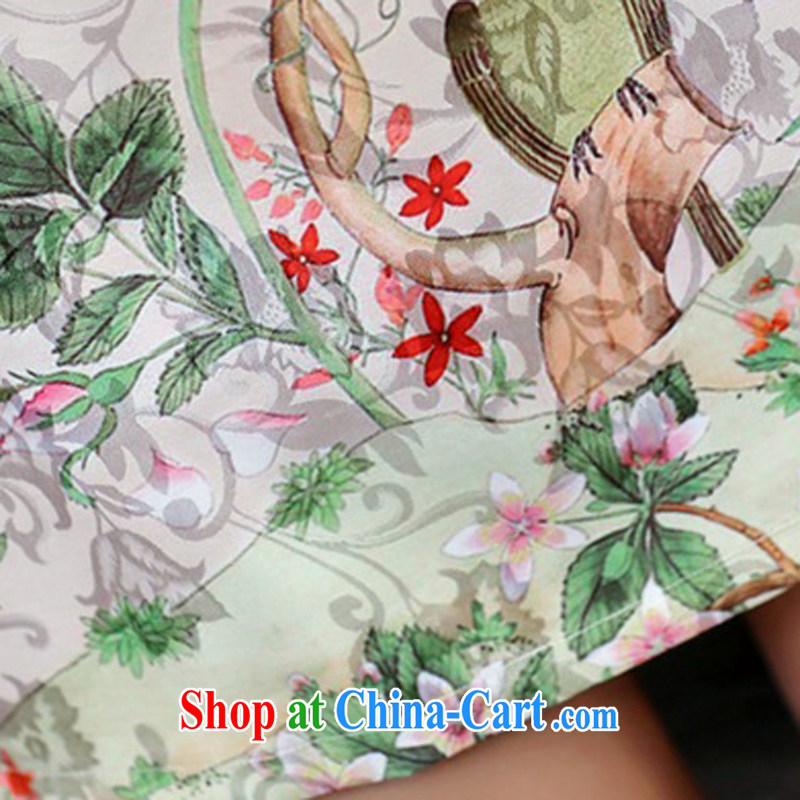 2015 new, fancy-day high quality jacquard cotton robes spring and summer retro fashion beauty cheongsam dress girls 982 Dan Feng cited butterfly S, rain poetry, and shopping on the Internet