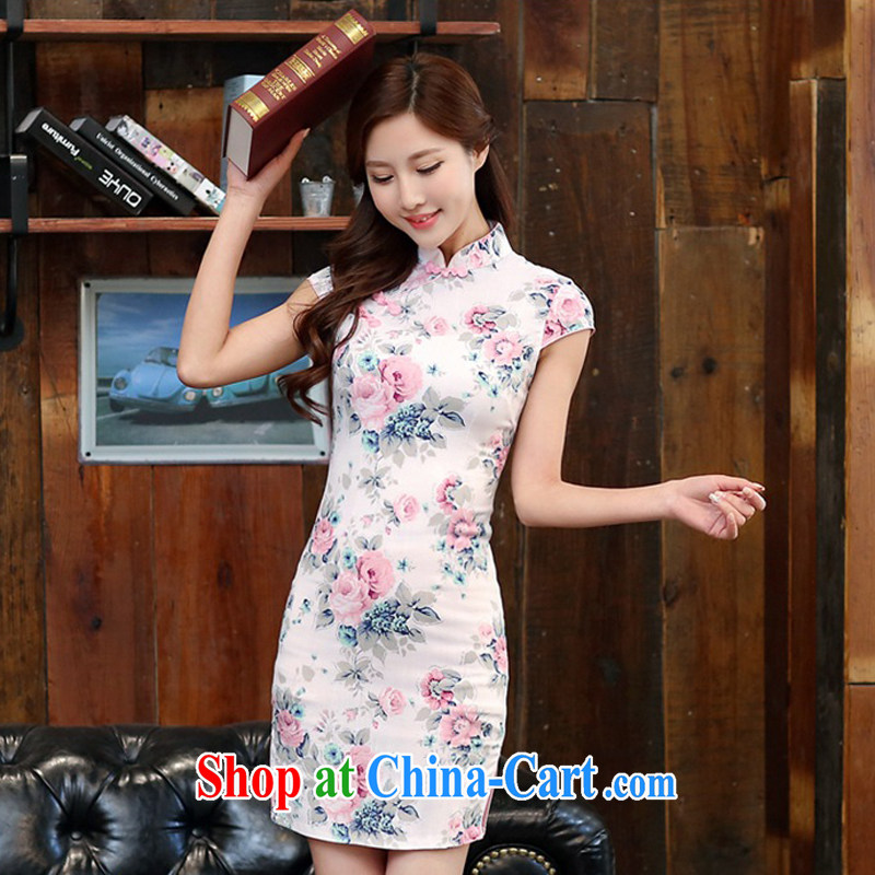 2015 spring and summer new stylish improved linen cheongsam dress Chinese Dress retro long cotton robes the commission 981 summer the color day Hong Kong L