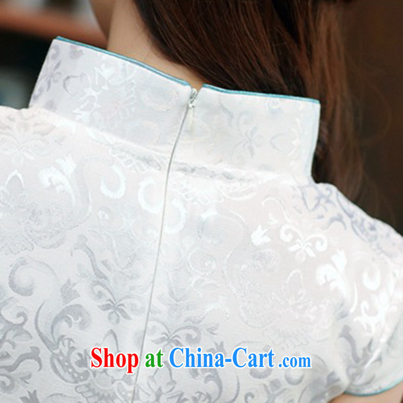 2015 new daily improved cheongsam shows the tea house, and package and short cheongsam dress women dress 983 Blue on white Phoenix S, rain poetry, and shopping on the Internet
