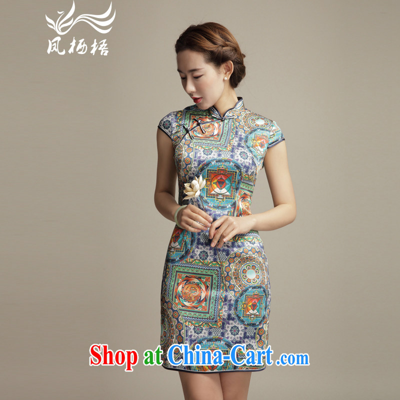 Bong-amphibious Ori-style summer 2015 New Silk Cheongsam Ethnic Wind and stylish beauty and elegant sauna Silk Cheongsam dress DQ 1566 fancy XXL