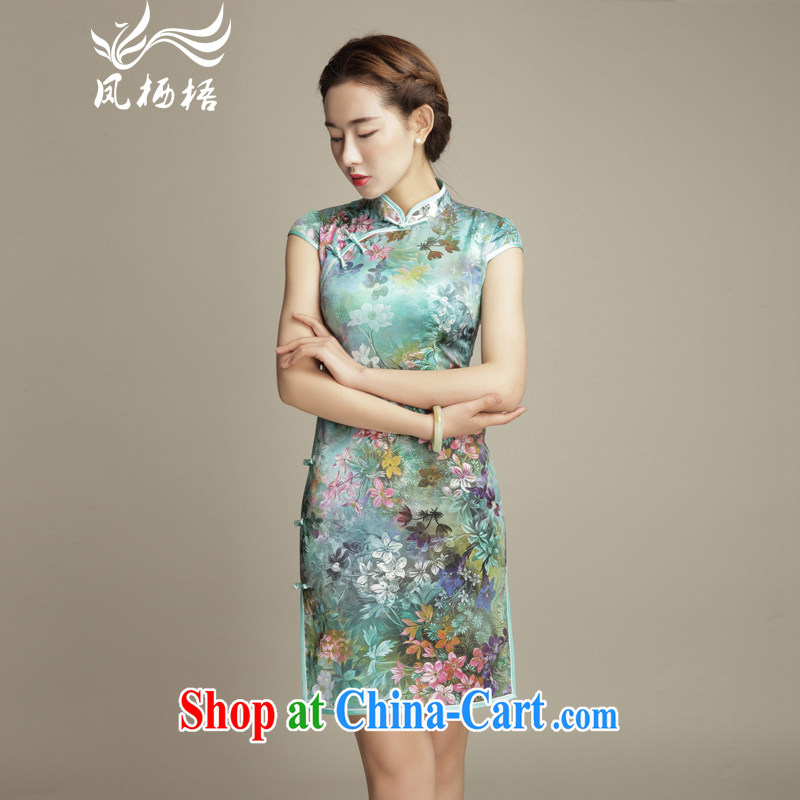 Bong-amphibious Ori-fancy summer 2015 New Silk Cheongsam retro hand-held high sauna Silk Cheongsam dress DQ 1568 fancy M