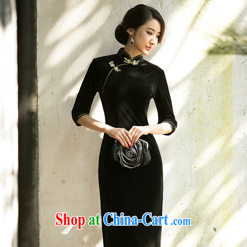 The cross-sectoral meet Elizabeth, wedding long dress fall and winter pure color gold velour cheongsam dress daily temperament cheongsam dress ZA 071 black M