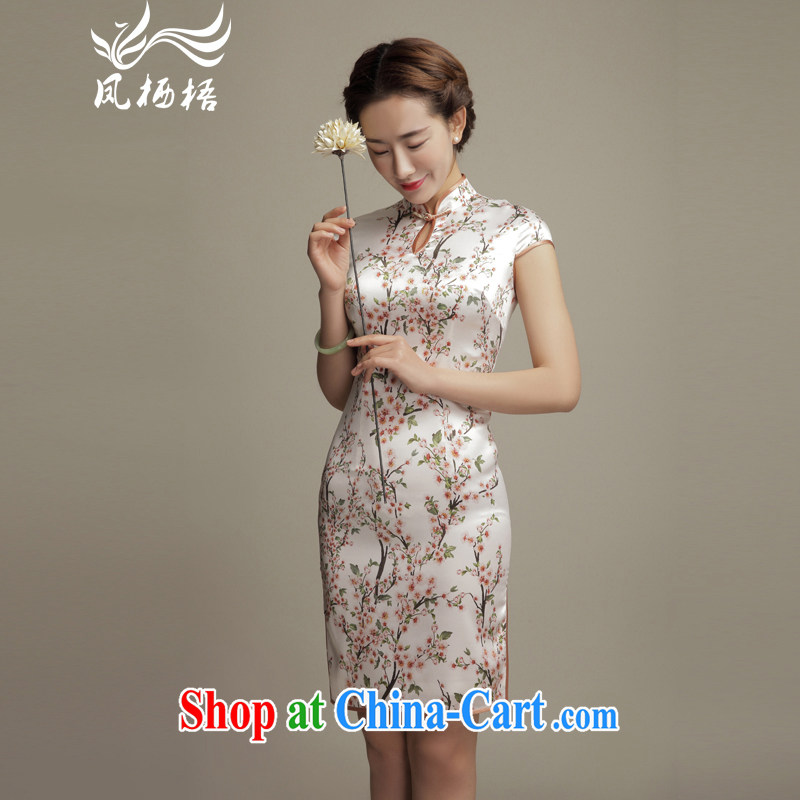 Bong-amphibious Ori-flowers 2015 summer Silk Cheongsam elegant beauty retro sauna silk short sleeve cheongsam dress DQ 1573 fancy XXL