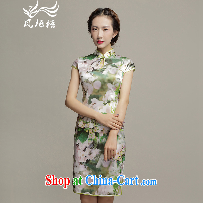 Bong-amphibious Ori-Orchid summer 2015 New Silk Cheongsam Fashionable dresses skirts beauty graphics thin short cheongsam dress DQ 1575 fancy M