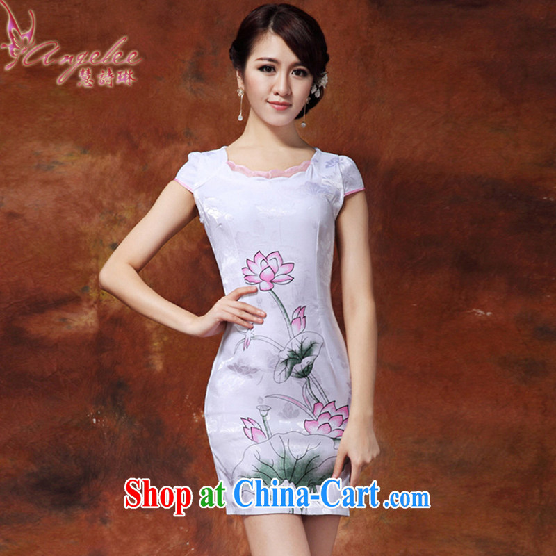 Miss Elsie LEUNG, I should be grateful if you Catherine following summer New Products 2015 Korean version improved classical Chinese style painting daily Chinese mandarin gowns, Beauty package and dresses white XXL
