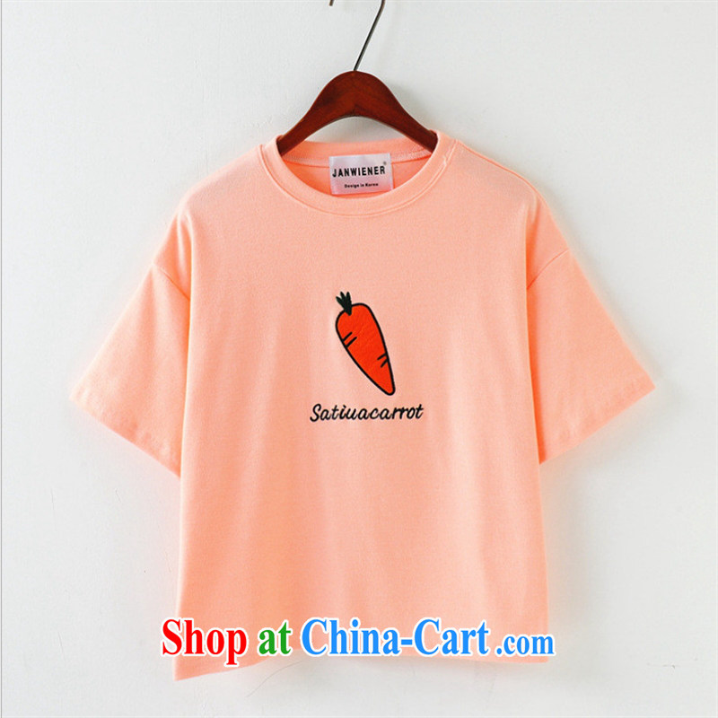Ya-ting store summer 2015 new female Korean short-sleeved round-collar and cotton embroidery fruit series in English letters T shirts pink are code