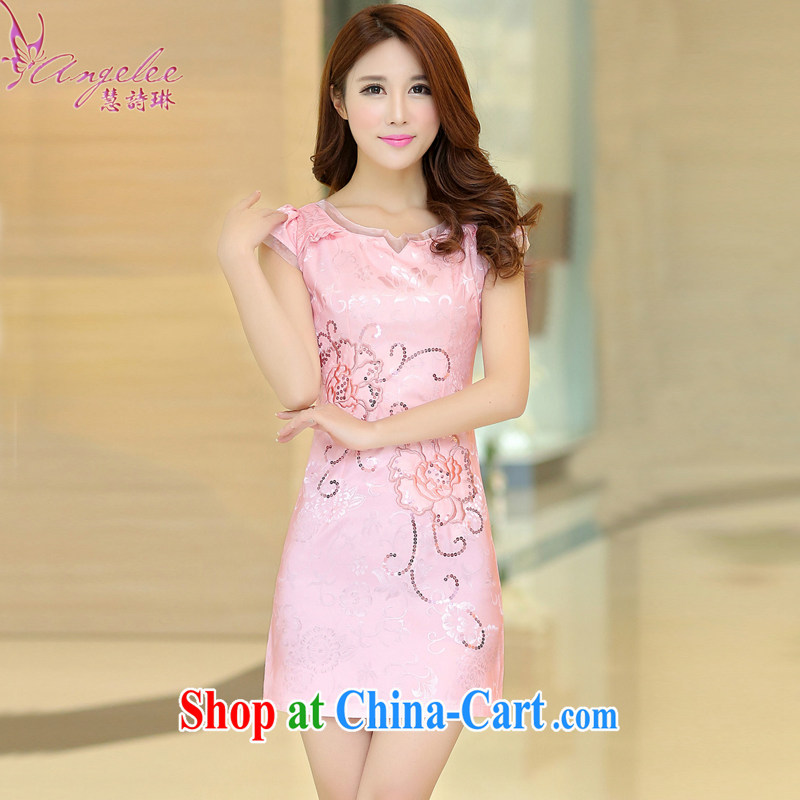 Miss Elsie Leung Lam 2015 new summer wear stylish and simple Lady style, high quality jacquard cotton improved daily cheongsam Chinese dresses short pink XL