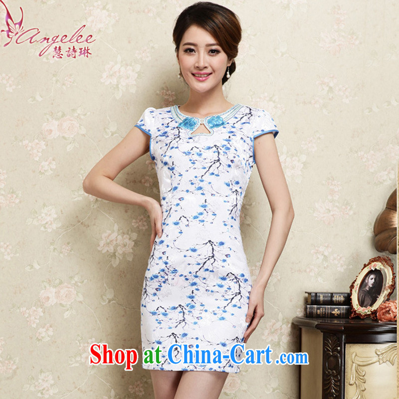 Emily poem Lin 2015 new summer Korean style Ethnic Wind floral short BEAUTY package and ceremonial improved cheongsam dress Tang blue XL