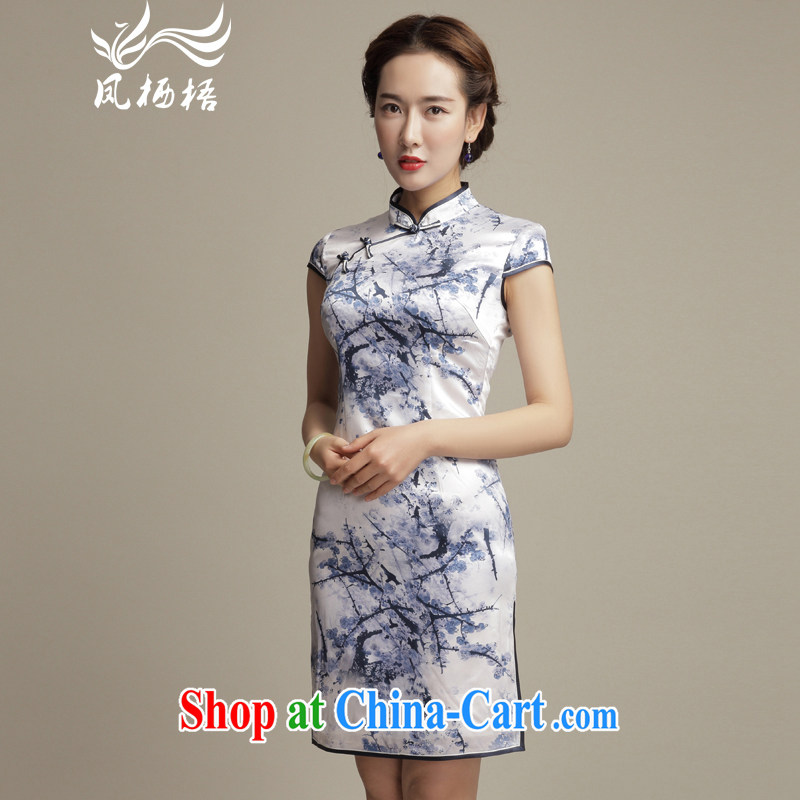 Bong-amphibious Ori-pity De Mello summer 2015 New Silk Cheongsam daily retro beauty stamp duty cheongsam dress DQ 1582 fancy XXL