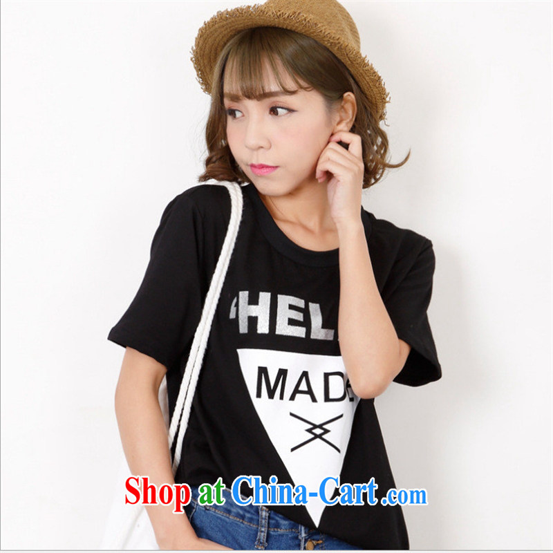 Ya-ting store 2015 spring and summer new female students pure cotton relaxed casual T-shirt black round-collar short-sleeve spring T-shirt solid black T-shirt are code