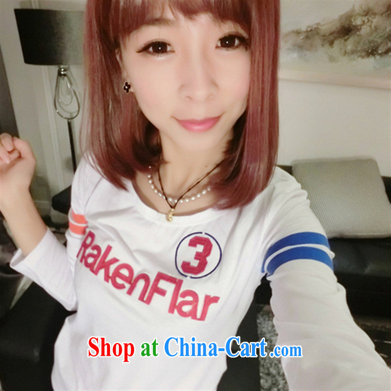 Ya-ting store 2015 spring and summer new female alphanumeric posted the thin white shirt T leisure students white are code
