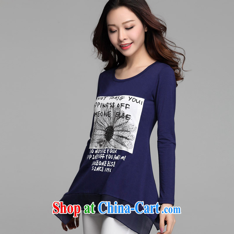 hamilton 2015 New T pension Korean loose the code round-collar solid shirt female stamp duty long-sleeved shirt T deep blue XL