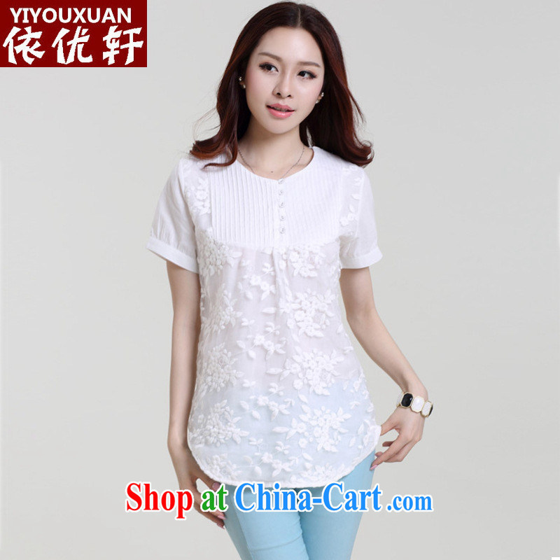 hamilton 2015 summer new European site embroidered stitching the code loose short-sleeved T-shirt girls cotton Ma T-shirt white 2XL