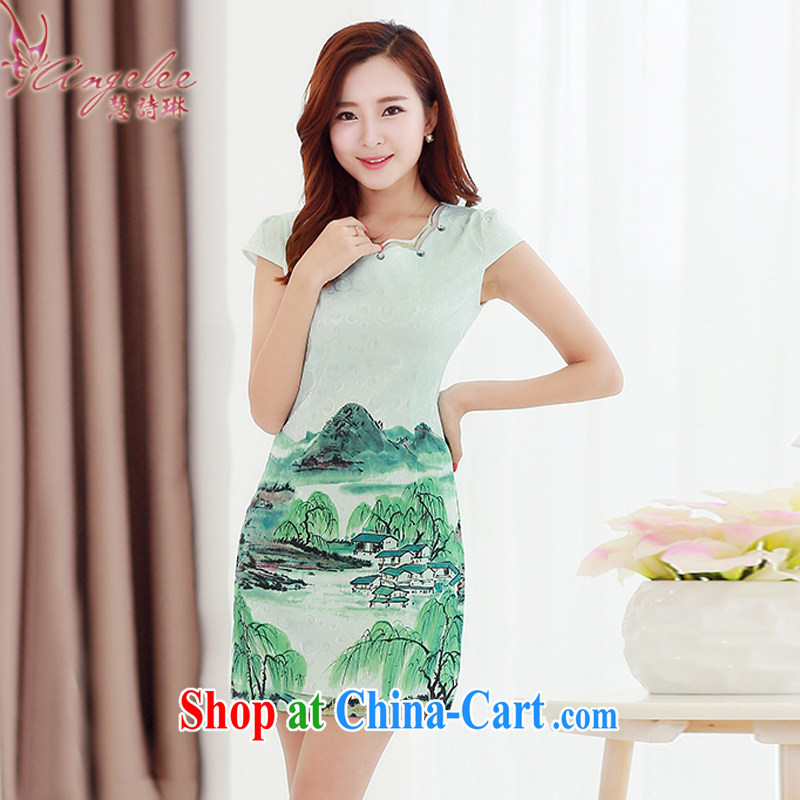 Miss Elsie LEUNG, Lin 2015 summer new female beauty graphics thin fine improved Chinese China wind classical painting daily cheongsam dress XXL rivers