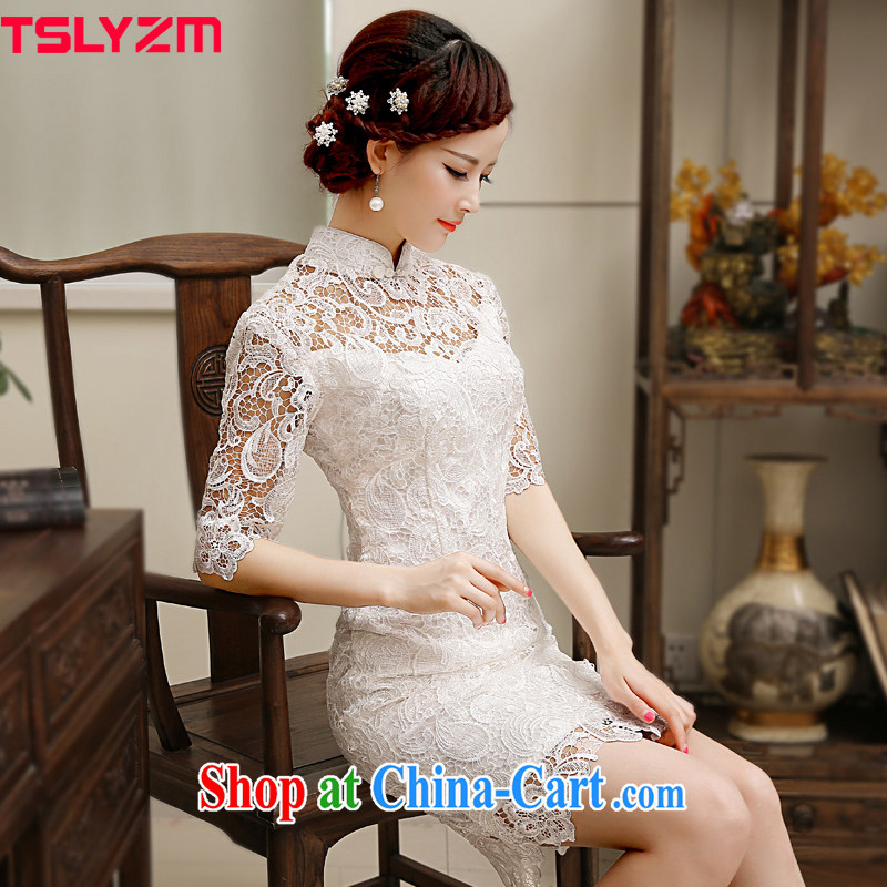 Tslyzm water-soluble lace improved cheongsam dress white beauty graphics thin dresses 2015 spring and summer new in short sleeves, L
