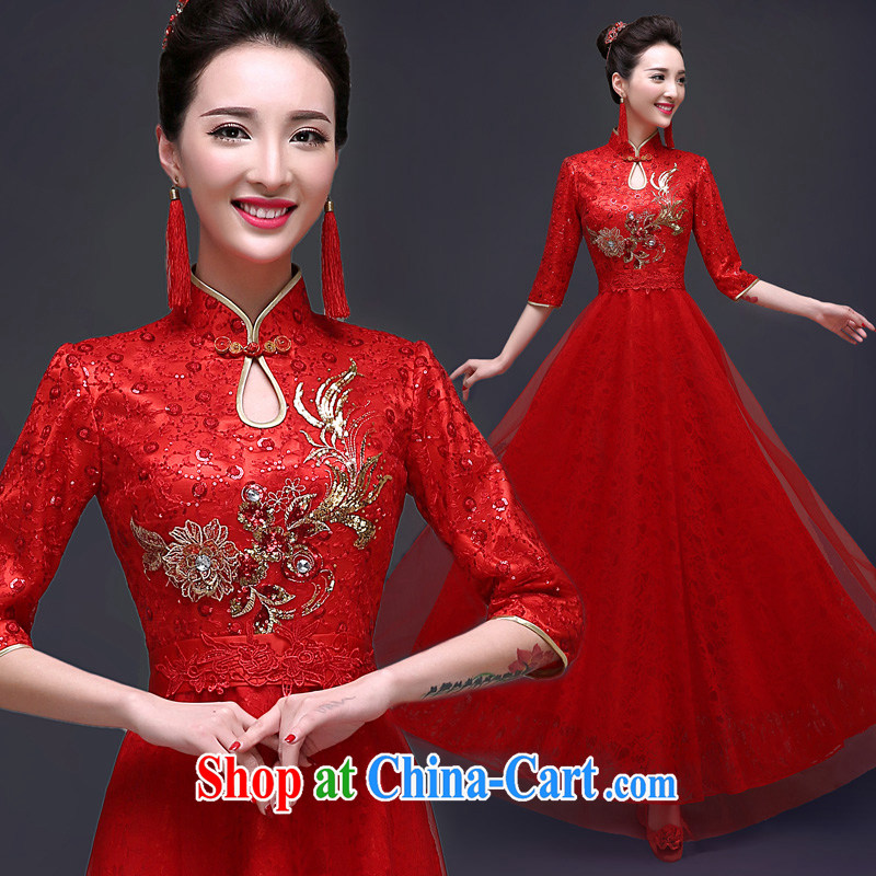 A good service is 2015 new spring dresses toast serving Chinese long cultivating red summer bridal wedding dress red 2 XL