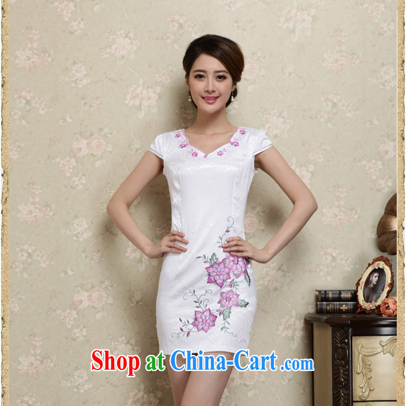 2015 summer edition Korea Stylish retro Ethnic Wind Tang with Han-package shoulder embroidery Sau San cheongsam dress new 27 purple L