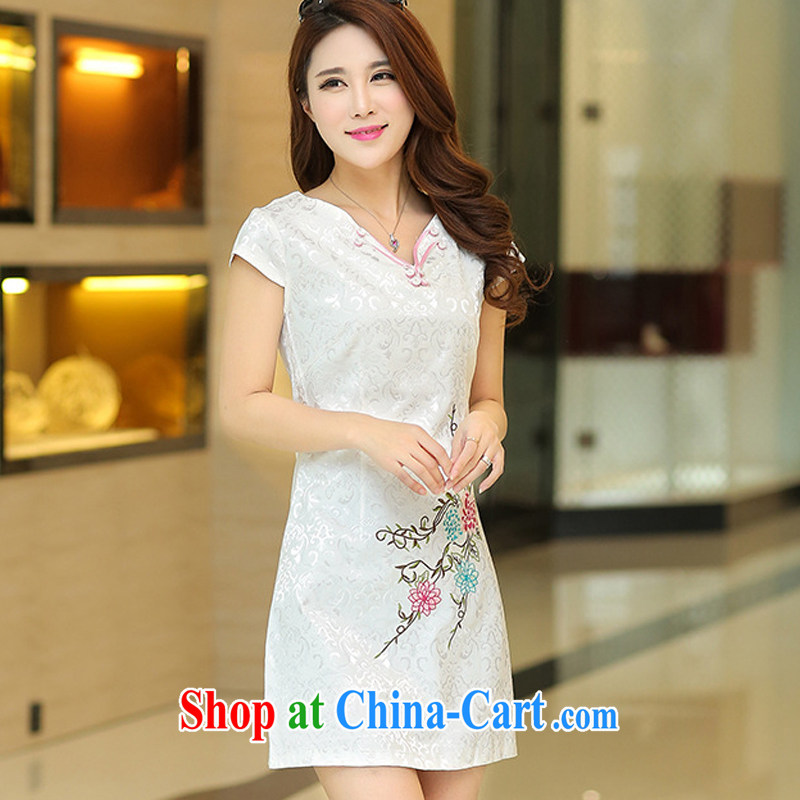 Summer 2015 new stylish jacquard cotton white fresh style Popular retro improved cultivation video thin cheongsam 35 white M