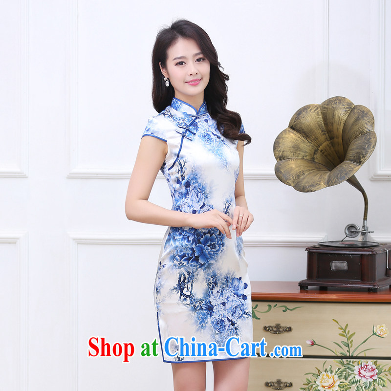 2015 spring and summer new upscale heavy Silk Cheongsam sauna silk retro double-long high on the truck cheongsam dress 1535 blue and white porcelain L
