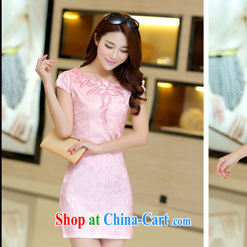 Dresses 2015 new spring and summer with black on white jacquard cotton retro daily improved cheongsam dress style girls 33 pink L