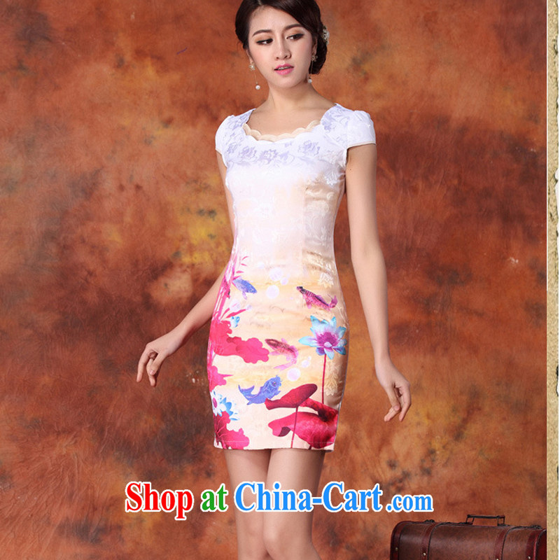2015 new short, decorated in summer, daily improved fashion cheongsam dress skirt retro style dress short-sleeved 29 red M