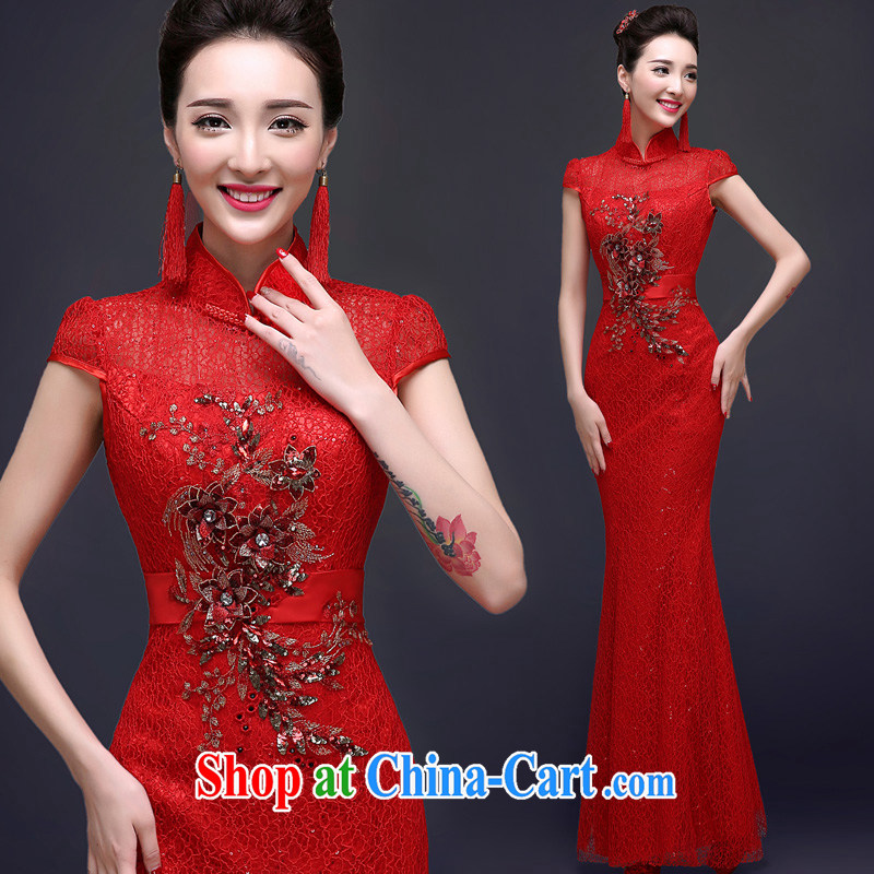A good service is 2015 spring red bridal wedding dress long Chinese crowsfoot summer bows outfit serving red 2 XL