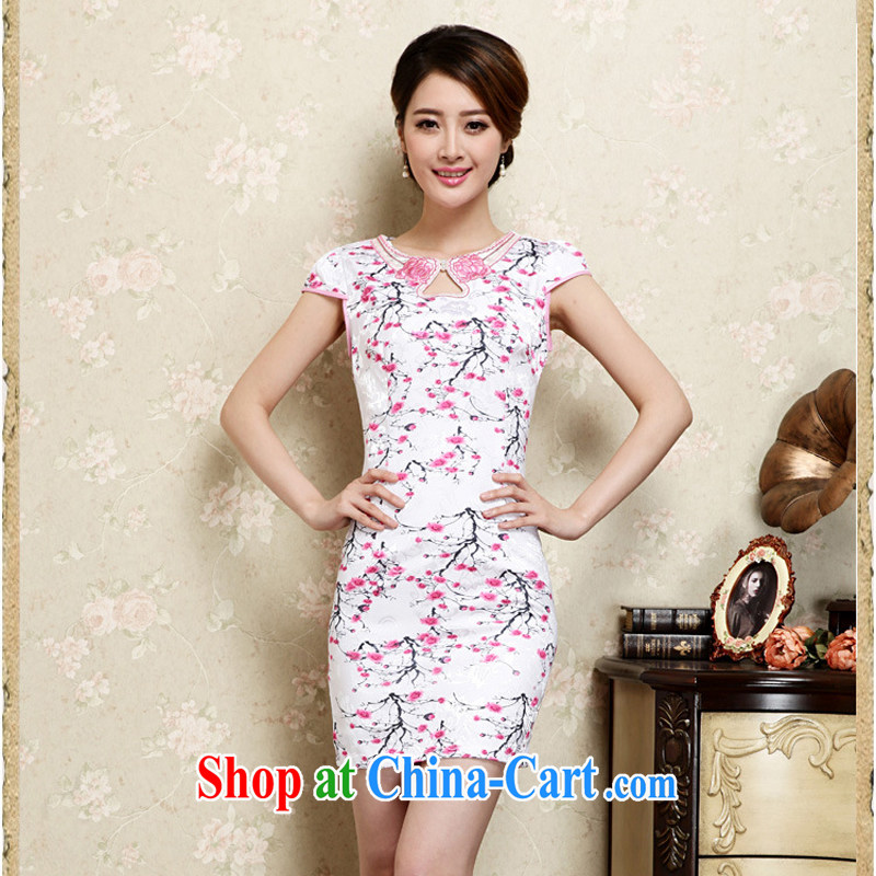 2015 new spring and summer dresses lace retro fashion beauty graphics thin cheongsam dress improved cheongsam dress 32 pink M