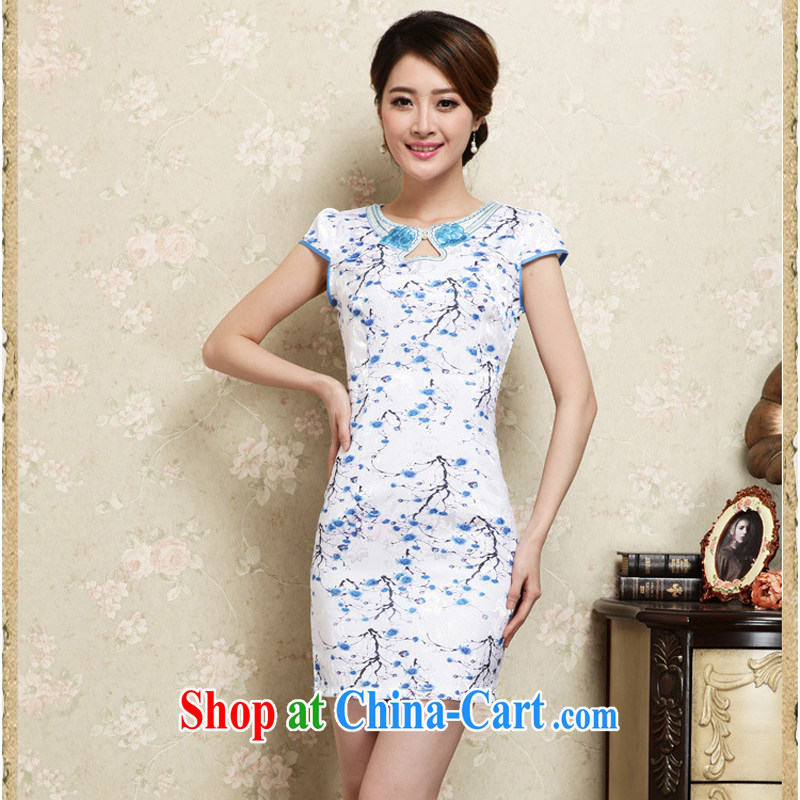 Improved cheongsam stylish summer 2015 new hand-painted plum sexy cheongsam dress Ethnic Wind daily retro dresses 30 blue M