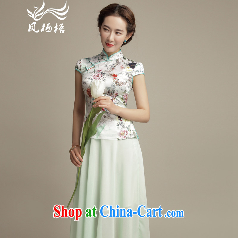 Bong-amphibious Ori-style, silk Chinese shirt Ethnic Wind stamp short stylish dresses T-shirt T pension DQ 1584 Light M