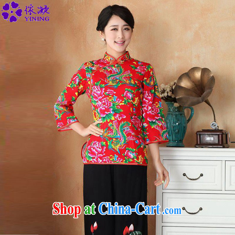 According to fuser new female retro ethnic wind improved Chinese qipao, for a tight stamp duty 7 cuff Tang with T-shirt WNS/2362 # 1 #3 XL