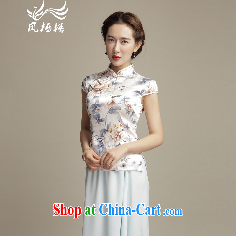 Bong-amphibious Ori-a clear and elegant silk Tang fitted T-shirt summer 2015 new retro beauty short cheongsam shirt DQ 1585 fancy XXL