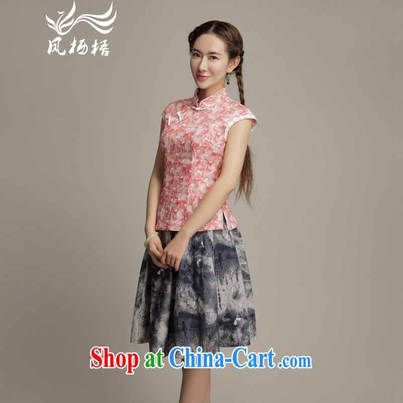 Bong-amphibious Ori-take Yao stylish cotton Ma Tang fitted T-shirt summer 2015 new elegant short cheongsam shirt DQ 1586 toner take M