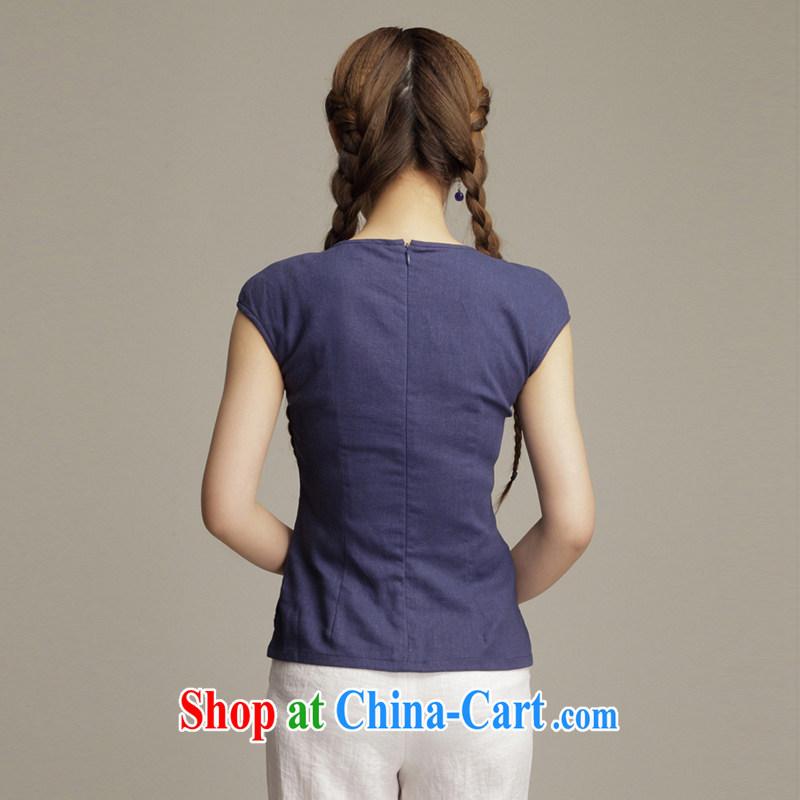 Bong-amphibious Ori-quality cotton Ms. Yau Ma Tei Tong with T-shirt stylish beauty short cotton Ma ethnic wind robes T-shirt DQ 1588 dark blue S, Bong-amphibious and, shopping on the Internet
