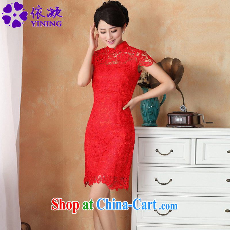 According to fuser new female retro improved Chinese qipao Solid Color language empty short-sleeved Sau San Tong load cheongsam dress costumes WNS/2365 #3 - 3 red 2 XL