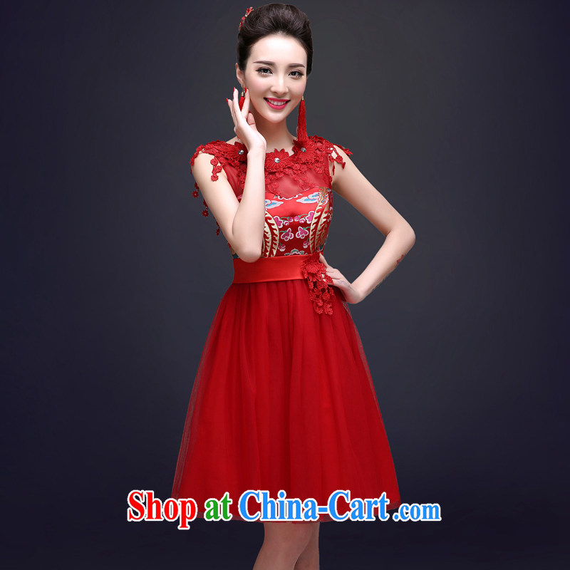 A good service is 2015 spring red bridal wedding dresses Chinese beauty short summer dresses serving toast red 2 XL