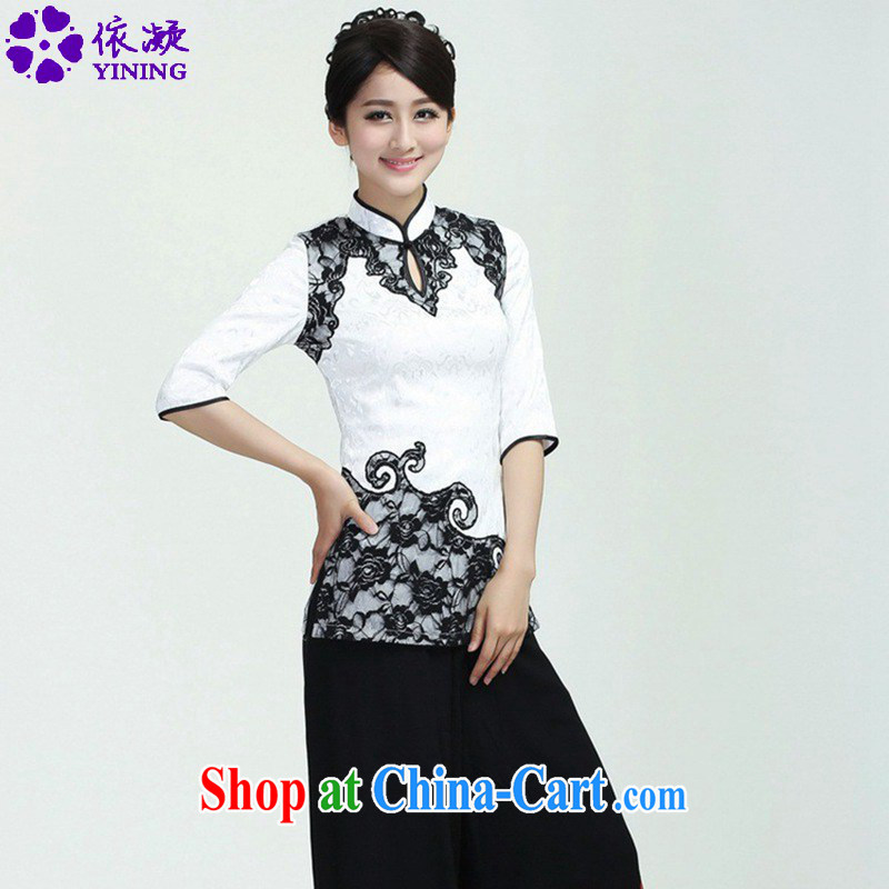According to fuser new female improved Chinese qipao stylish, territorial waters drop hard-pressed to spend cultivating 7 cuff Tang Replace T-shirt WNS/2371 # 1 #3 XL