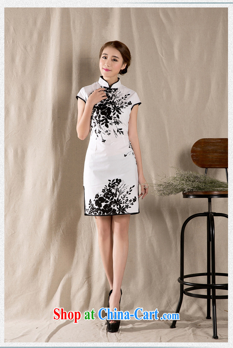 Romeo 2015 summer new stylish retro cheongsam dress China wind stamp dresses Z 1225 white XXL pictures, price, brand platters! Elections are good character, the national distribution, so why buy now enjoy more preferential! Health