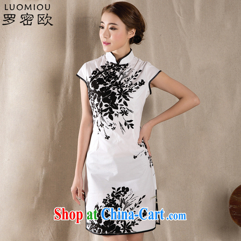 Romeo 2015 summer new stylish retro cheongsam dress China wind stamp dresses Z 1225 white XXL