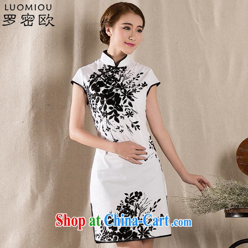 Romeo 2015 summer new stylish retro cheongsam dress China wind stamp dresses Z 1225 white XXL, Romeo, shopping on the Internet
