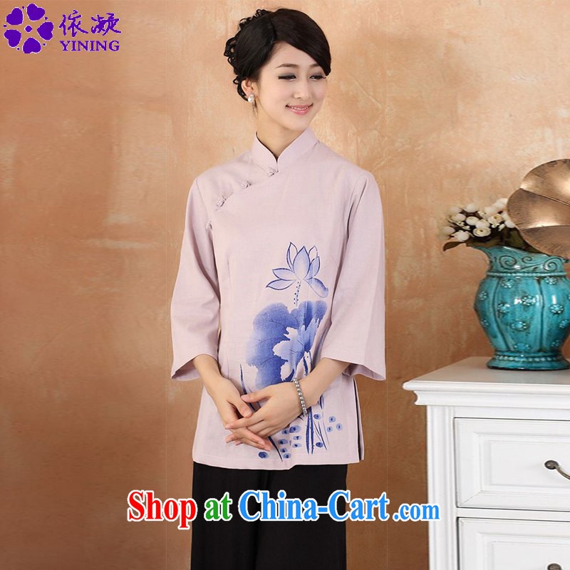According to fuser new female daily improved Chinese qipao, for classical-tie suit 7 cultivating a cuff Tang Replace T-shirt WNS_2379 _3 - 3 purple 3 XL