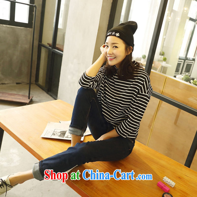 Only 2015 spring new Korean pure cotton stripe T-shirt loose short T-shirt girls long-sleeved A A 536 8123 white are code