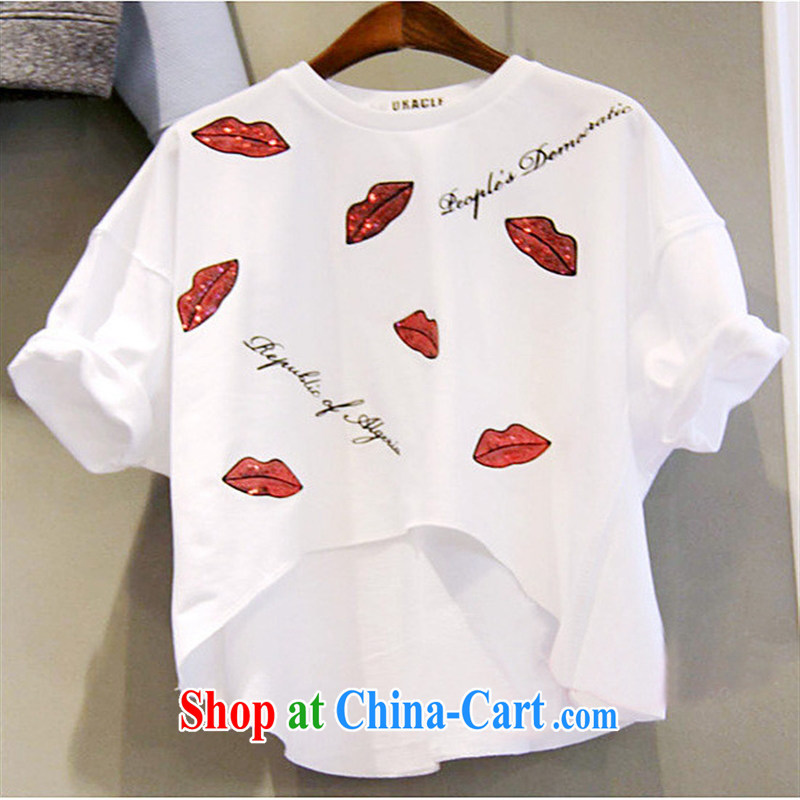 The east entrance tickets 2015 spring and summer new stamp red lips printed letter short-sleeved T shirt solid white shirt XL