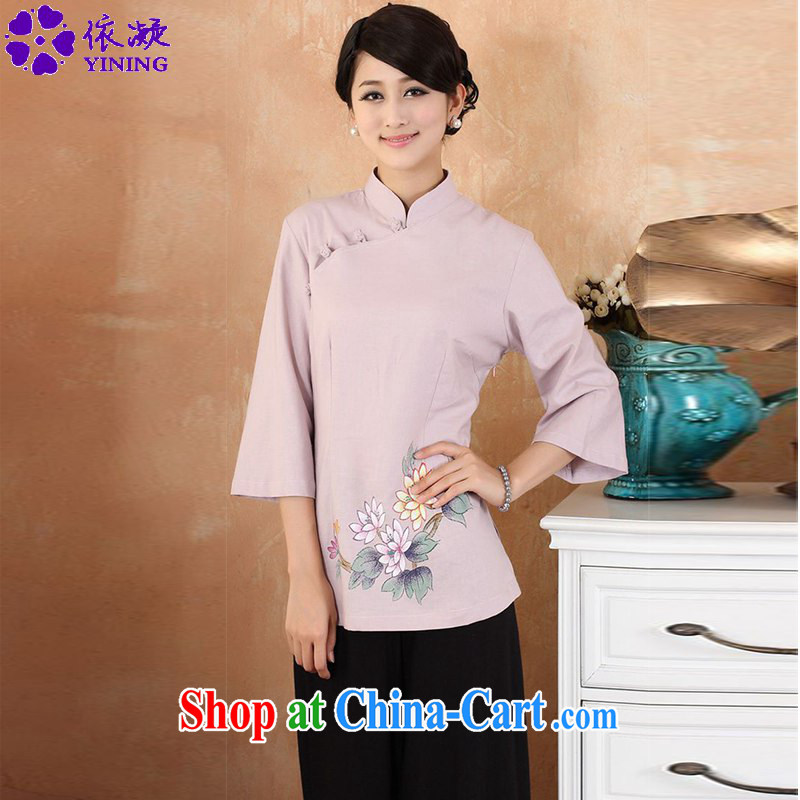 According to fuser new female Chinese improved Chinese Han-hand-painted cotton Ma maximum number 7 cuff Chinese T-shirt WNS/2380 #3 - 3 purple 3 XL