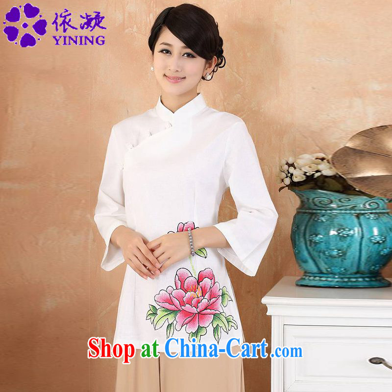 According to fuser new female daily improved Chinese qipao, for classical-tie-painted things 7 short sleeve T-shirt with WNS_2381 _2 white 3XL