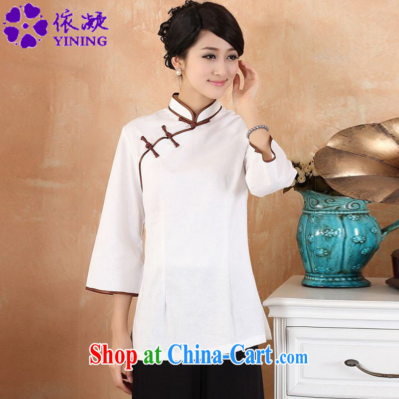 According to fuser new Chinese female improved Chinese Han-collar, classic tray for cultivating 7 cuff hand-painted Chinese T-shirt WNS_2382 _2 white 3XL