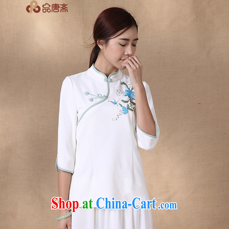 MR HENRY TANG (Id al-Fitr spring and summer new 2015 National wind retro T-shirt improved cheongsam beauty pre-sale, April 17 white XL