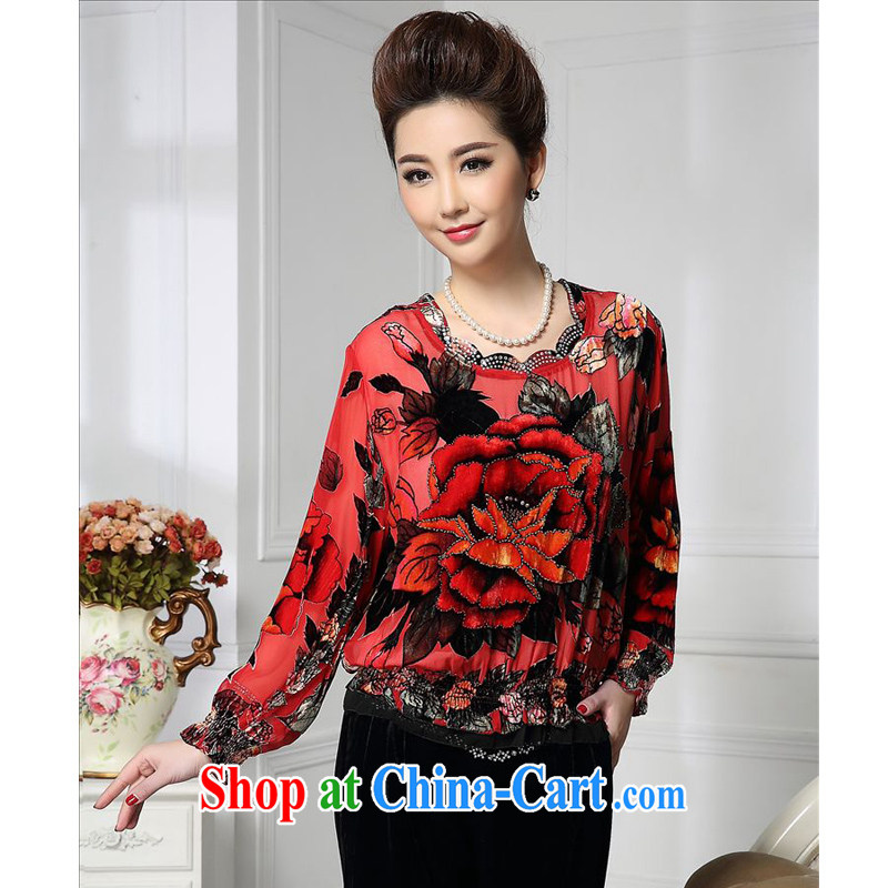 Forest narcissus 2015 spring loaded on New Wave collar, with cuffs wrinkled Chinese mother with silk stitching sauna Silk Velvet jacket HGL - 472 photo color XXXXL