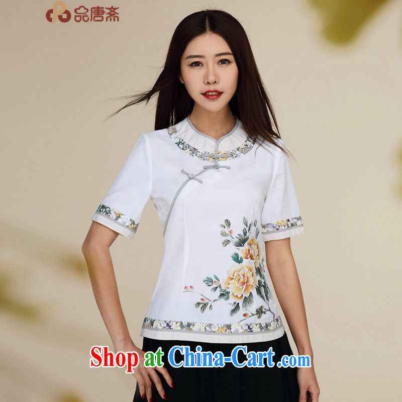 MR HENRY TANG _Id al-Fitr new summer, 2015 National wind short-sleeved cotton Ma Sau San retro improved Chinese qipao T-shirt pre-sales, 5, no. 15 white L