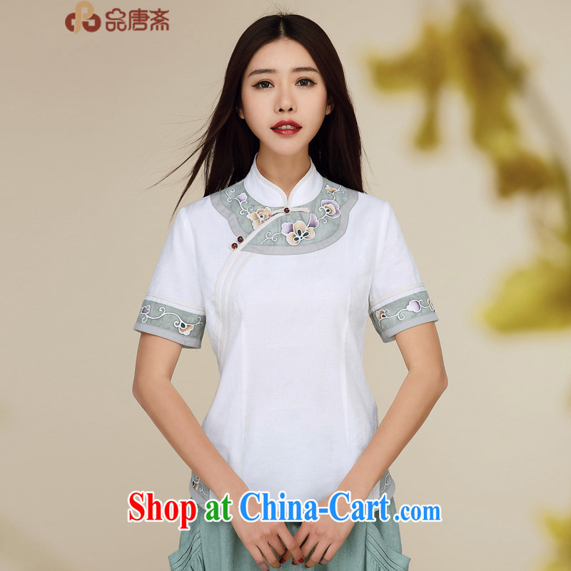 Mr Henry Tang, Id al-Fitr summer new 2015 National wind beauty graphics thin short-sleeved cotton the improved Chinese Tang fitted T-shirt white XL