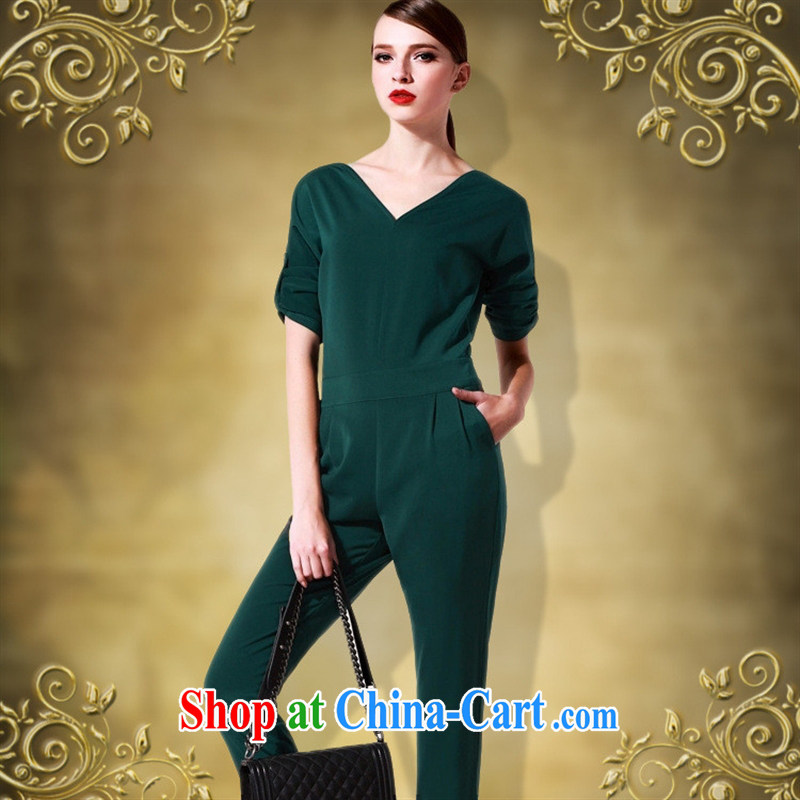 hamilton 2015 new career women with sexy V collar big temperament beauty-trousers 7 cuff-Trouser Press Video thin green XXL